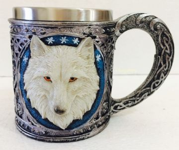 Mug Drinking TANKARD resin with stainless steel - WHITE WOLF HEAD  WOLF29
